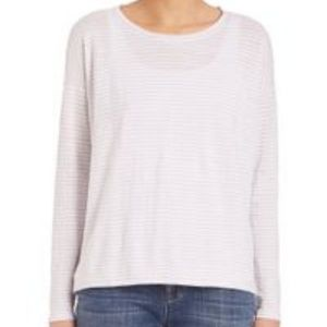 Eileen Fisher Pearl Striped Boxy Organic Linen Top